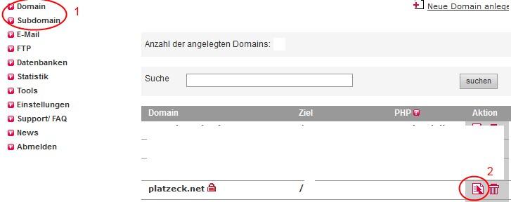 Domain in der Übersicht auswählen